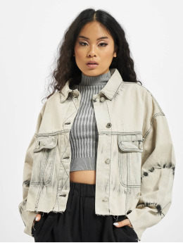 Missguided Denim Jacket Tie Dye Pleat Back Co Ord beige
