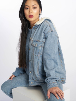 Missguided Denim Jacket Oversized Teddy Faux Fur blue