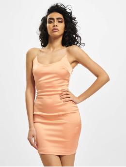 Missguided Dress Stretch Satin Clear Strap  orange