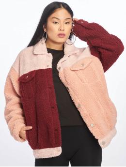 Missguided Lightweight Jacket Colourblock Oversized Borg pink
