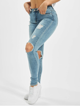 Missguided Skinny Jeans Sinner Open Knee  blue