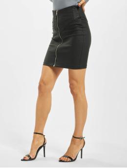 Missguided Skirt Corset Detail Coated Denim  black