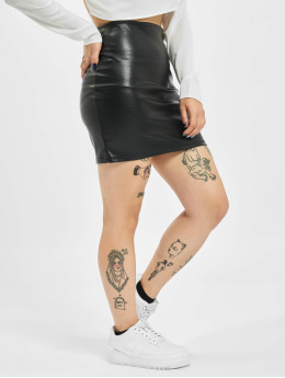 Missguided Skirt Croc Faux Leather  black