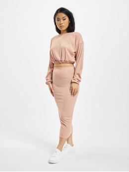Missguided Skirt Coord Rib Crop pink