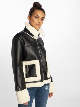 NA-KD Leather Jacket Contrast Bonded Aviator black