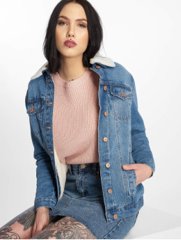 New Look Denim Jacket Cassie Oversized Borg blue