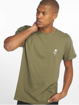 New Look T-Shirt Solid Rose Emboidered green