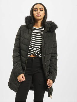 Only Coats onlEllan Quilted Hood Fur  black