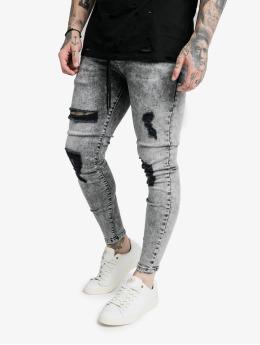 Sik Silk Skinny Jeans Elasticated Tape Distressed blue