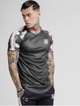Sik Silk T-Shirt Oil Paint Raglan Taped  black