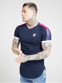 Sik Silk T-Shirt Inset Cuff Fade Panel Tech blue
