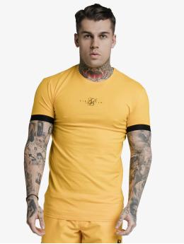 Sik Silk T-Shirt Inset Elastic Cuff Gym  yellow