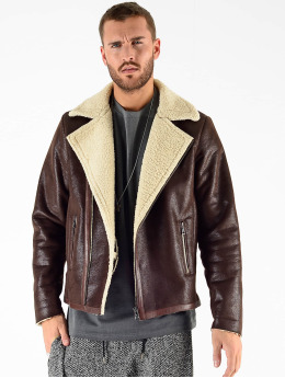 VSCT Clubwear Winter Jacket VSCT Clubwear Sheepskin Biker Jacket brown