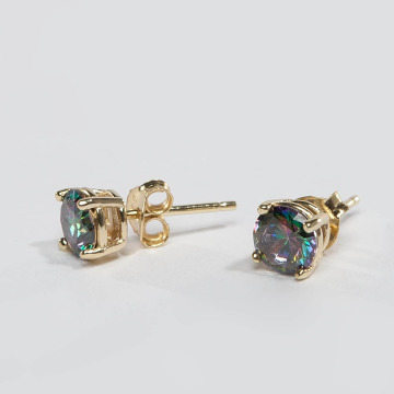 KING ICE Earring Gold_Plated 6mm 925 Sterling_Silver CZ gold