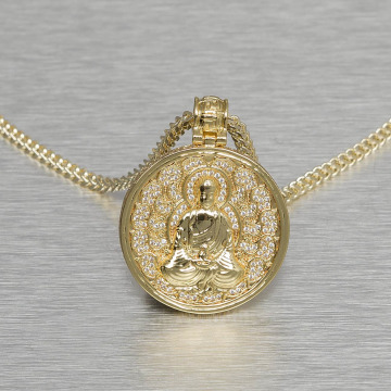 KING ICE Necklace Buddhist Medallion gold