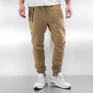 Sixth June Sweat Pant Destroyed Slim Fit beige