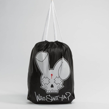Who Shot Ya? Beutel Logo black