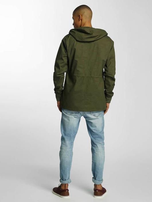 Brave Soul Lightweight Jacket Snap Front Hooded Bonded khaki