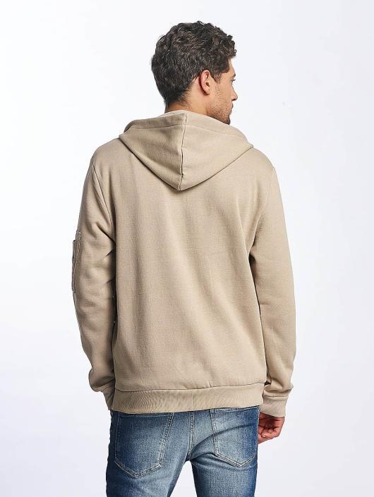Brave Soul Zip Hoodie MSS69 beige