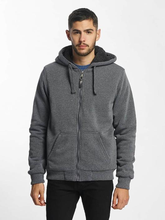 Brave Soul Zip Hoodie Sherpa Lined gray