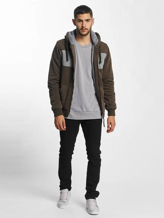 Brave Soul Zip Hoodie Through khaki