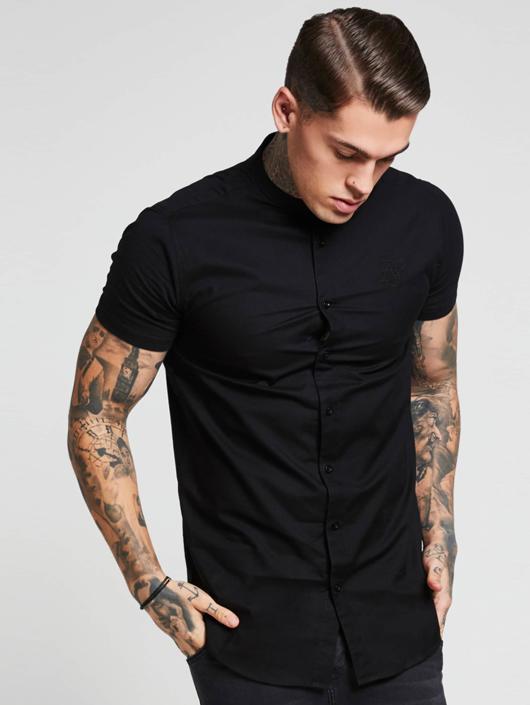 Sik Silk T-Shirt Grandad Collar Jersey Sleeve black