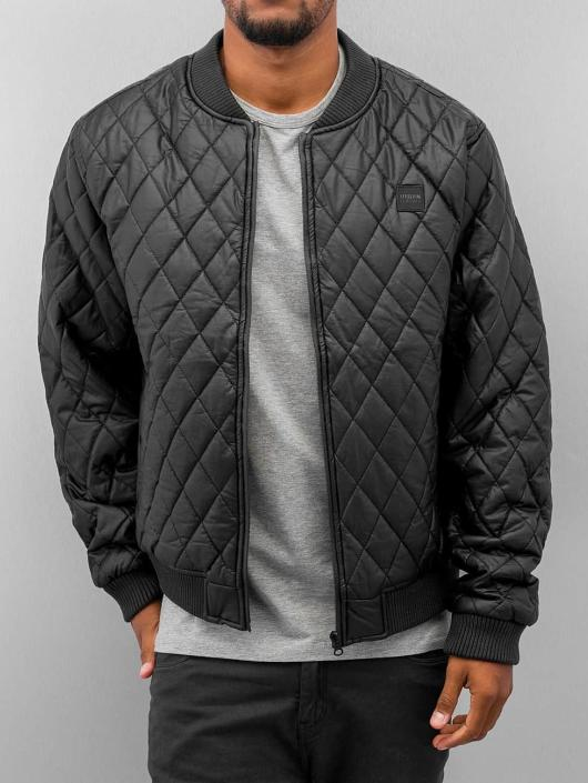 Urban Classics Lightweight Jacket Diamond Quilt Leather Imitation black