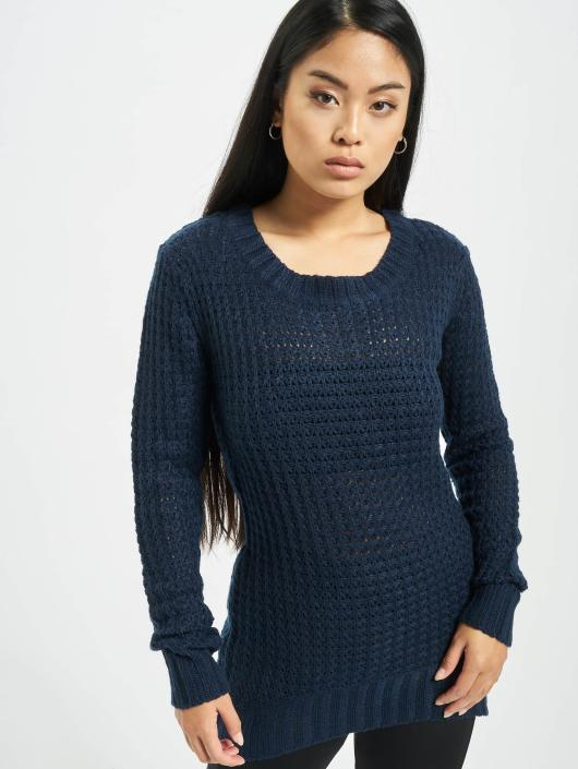 Urban Classics Pullover Ladies Long Wideneck blue