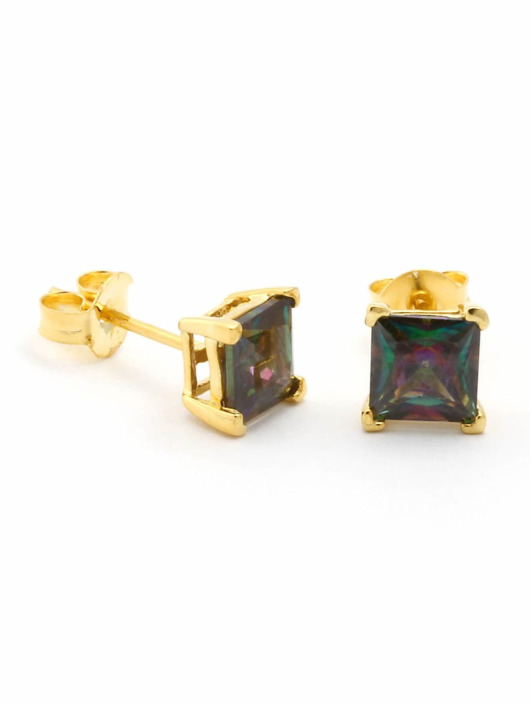 KING ICE Earring Gold_Plated 4mm 925 Sterling_Silver CZ Princess Cut gold