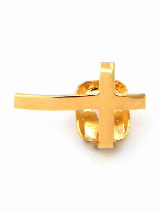 KING ICE Grillz Gold_Plated Cross Single Tooth Cap Top gold