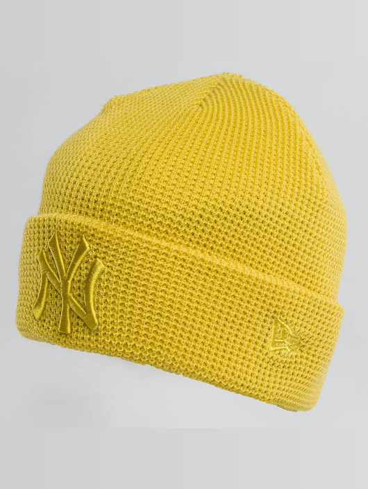 New Era Hat-1 New Era Essential Waffle Knit NY Yankees Beanie Open Market yellow