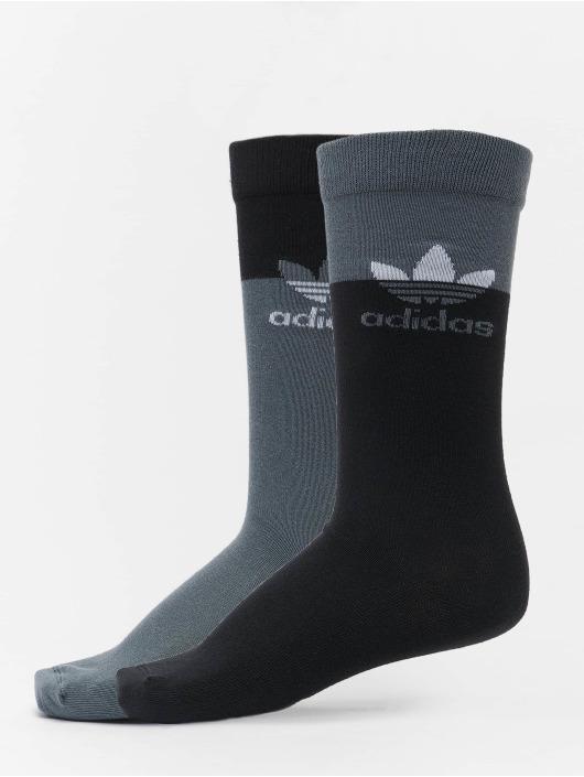 adidas Originals Socks 2 Pack Blocked Thin Crew black