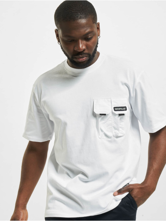 Caterpillar T-Shirt Double Pocket white