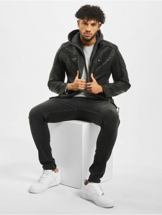 Cipo & Baxx Leather Jacket Jim black