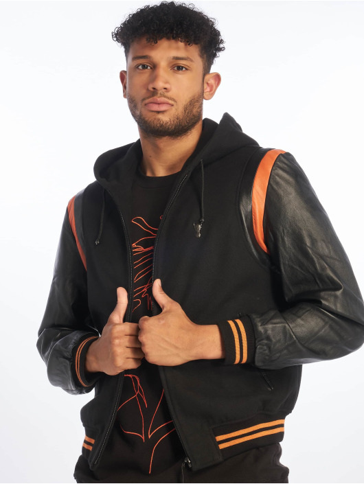 De Ferro Leather Jacket Bb Orange Art black