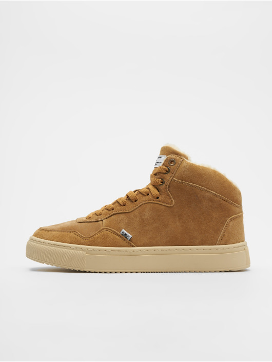 Djinns Sneakers Highwaik Fur Suede beige