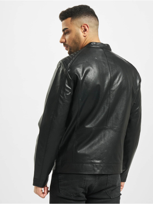 Jack & Jones Leather Jacket jorAck black