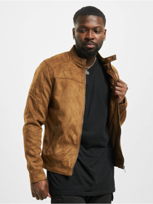 Jack & Jones Leather Jacket jjeRocky Noos brown
