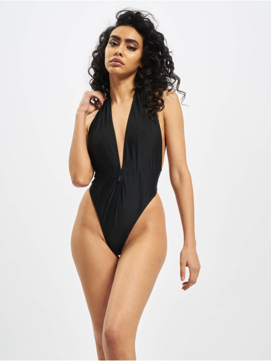 Missguided Bathing Suit Plunge Halterneck black