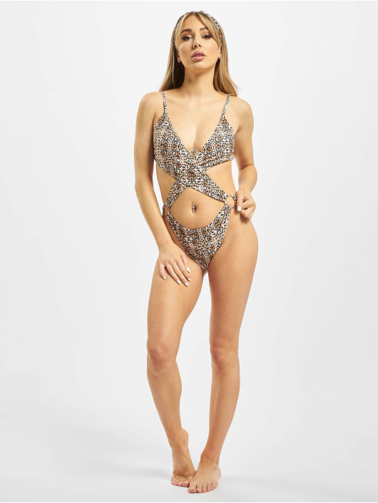 Missguided Bathing Suit Extreme Cut Out Leopard brown