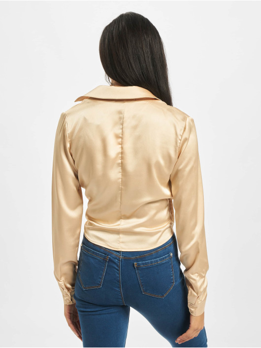 Missguided Blouse/Tunic Tall Satin Tie Side gold