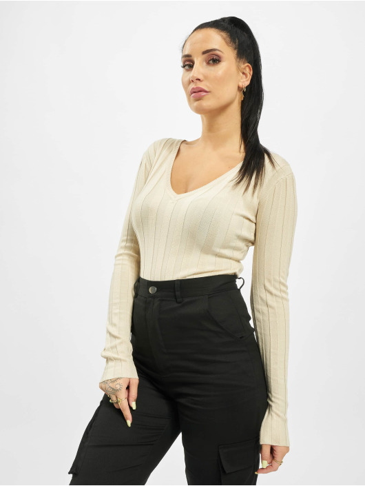 Missguided Body Extreme Rib Ultimate Plunge beige