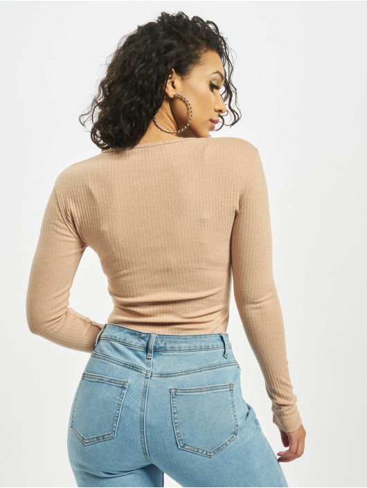 Missguided Body Petite Button Front Long Sleeve beige