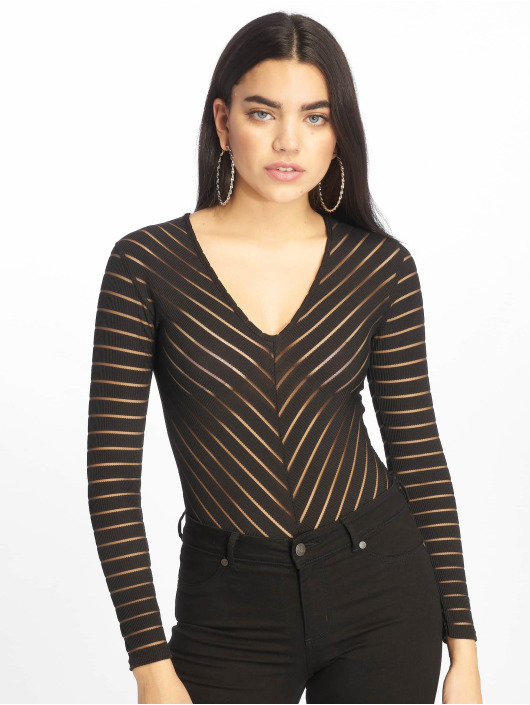 Missguided Body Long Sleeve V Neck Chevron Mesh black
