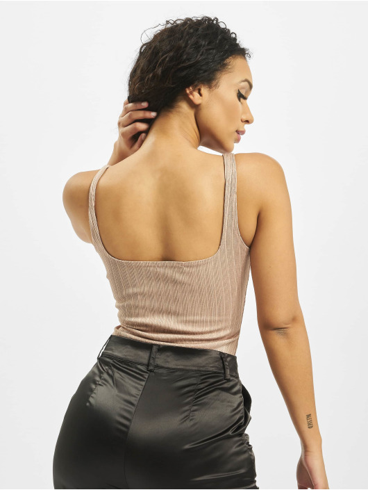 Missguided Body Ribbed Square Neck Sleeveless rose