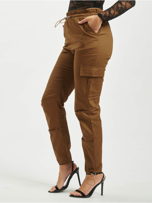 Missguided Cargo pants Oversized Twill Paperbag Cargo brown