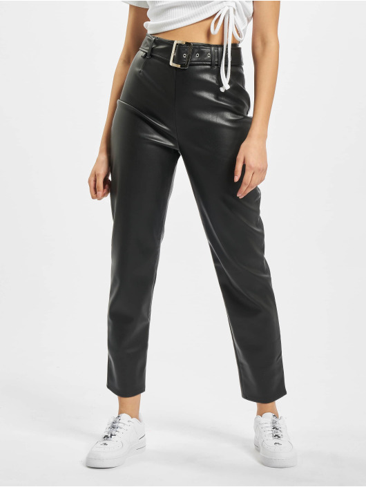 Missguided Chino pants Premium Faux Leather Buckle Cigarette black