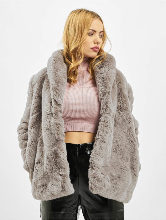 Missguided Coats Shawl Collar Faux Fur gray