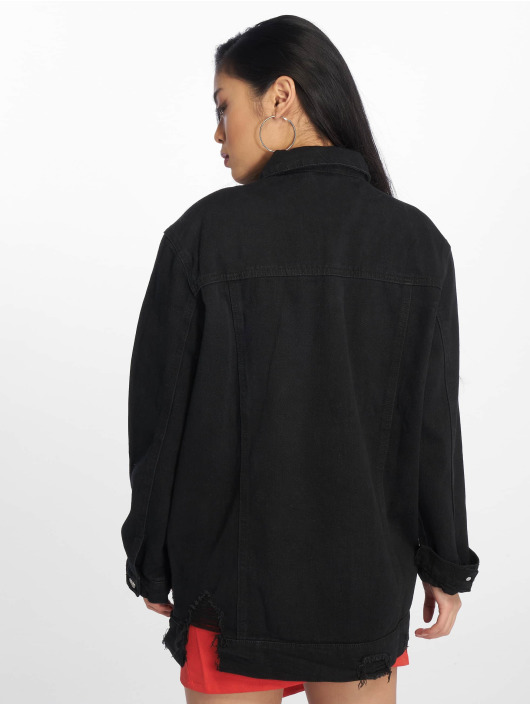 Missguided Denim Jacket Longline Distressed black