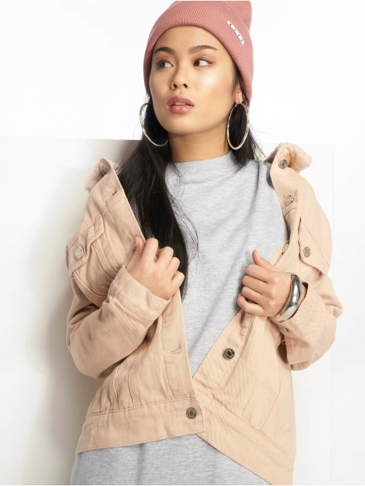 Missguided Denim Jacket Oversized Teddy Faux rose